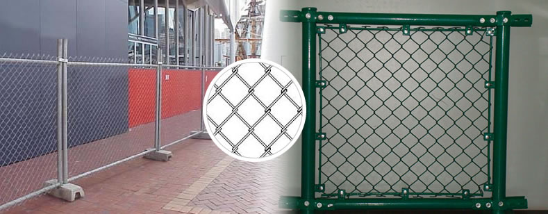Galvanized and Powder Coated Chain Link Temporary Fencing